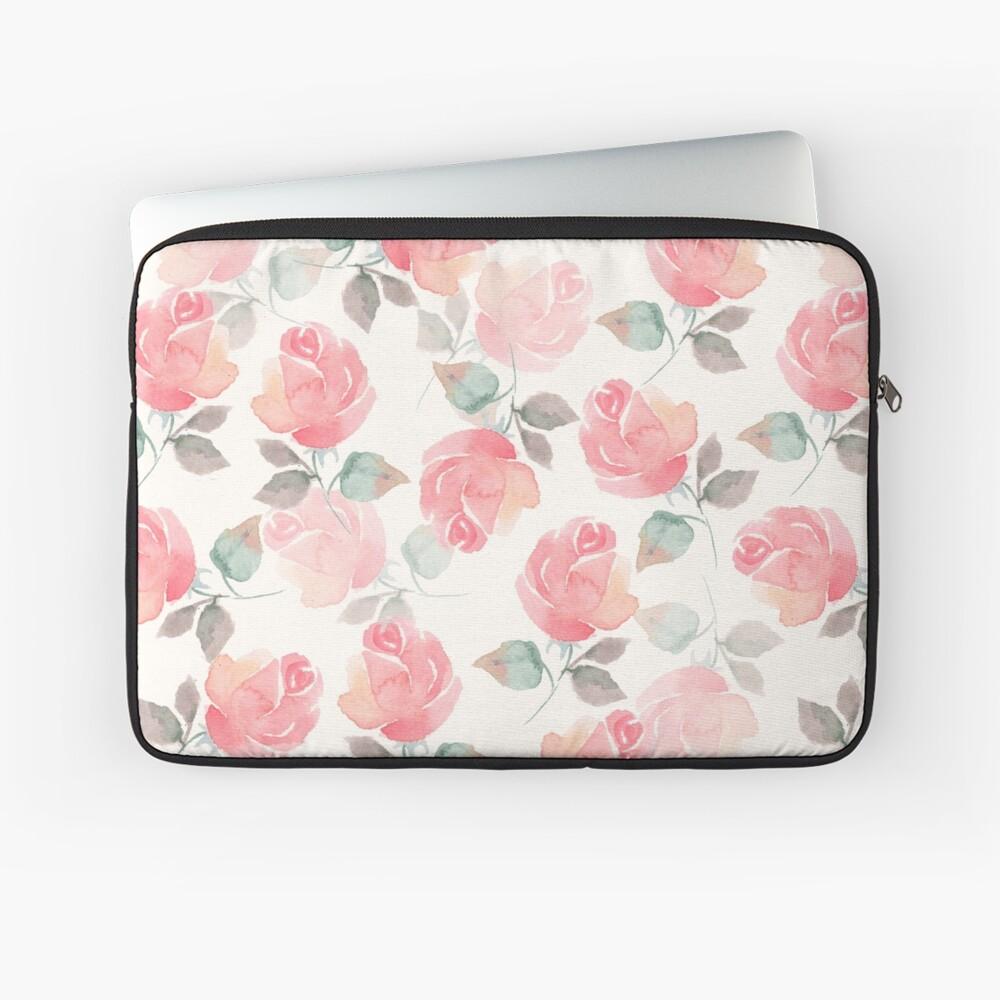 Beautiful delicate roses. Seamless watercolor pattern Laptop Sleeve