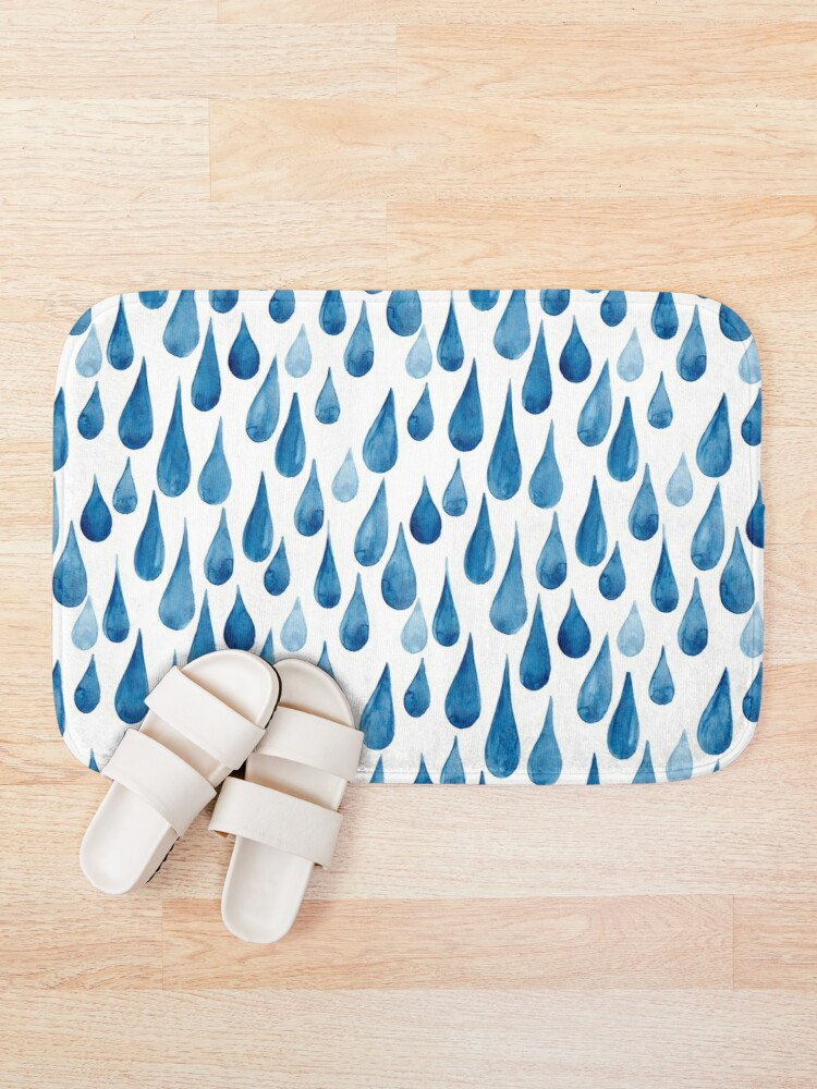 Alternate view of Watercolor rain drops Bath Mat