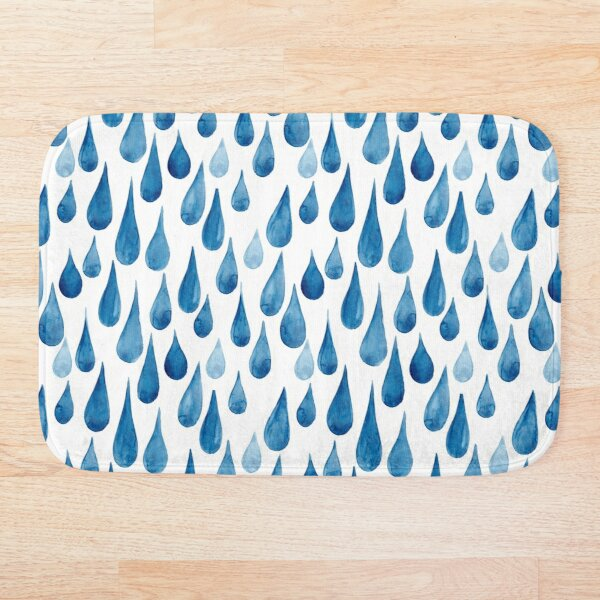 Watercolor rain drops Bath Mat