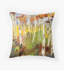 Brush Stroke Birchs Throw Pillow