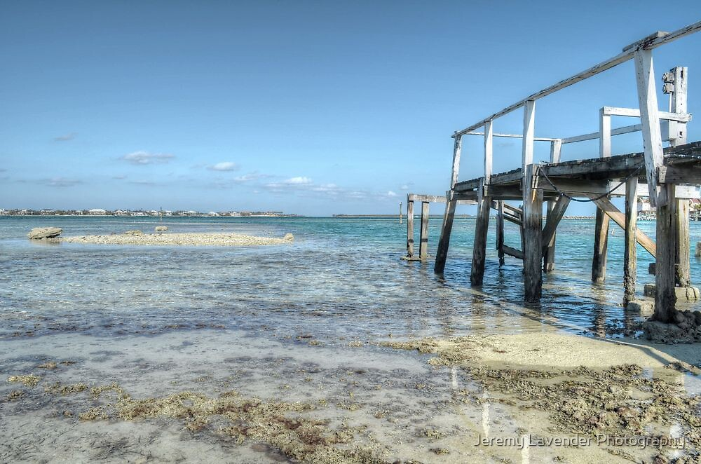 Low tides at the old pier in Montagu Beach - Nassau, The Bahamas by Jeremy Lavender Photography