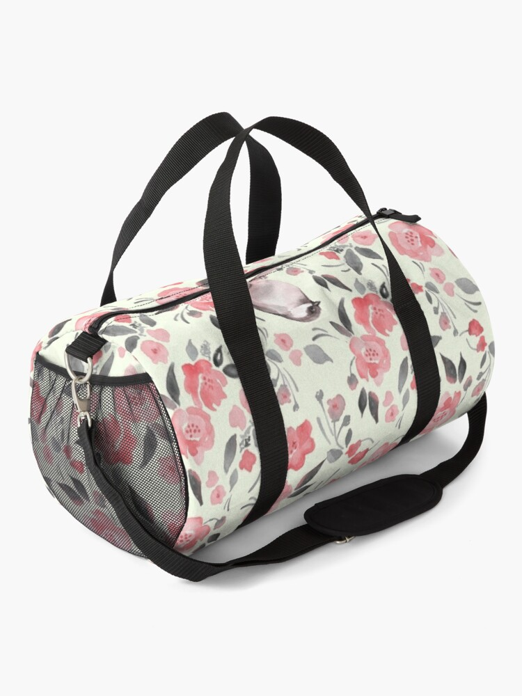 Alternate view of Watercolor floral background with cute bird /2 Duffle Bag