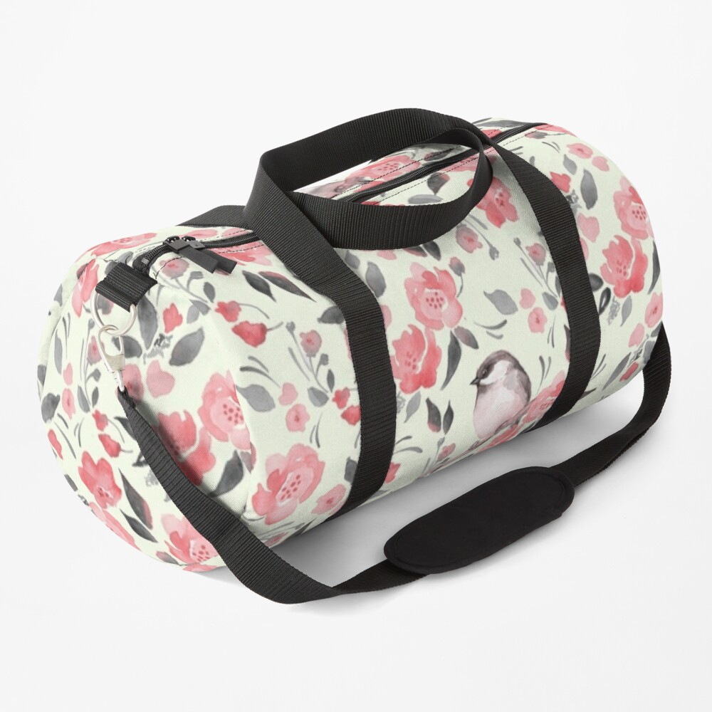 Watercolor floral background with cute bird /2 Duffle Bag