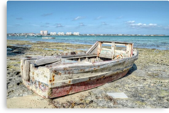 Lonely Boat dreaming of the Sea in Montagu Beach - Nassau, The Bahamas by Jeremy Lavender Photography