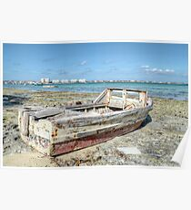 Lonely Boat dreaming of the Sea in Montagu Beach - Nassau, The Bahamas Poster