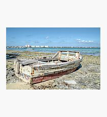 Lonely Boat dreaming of the Sea in Montagu Beach - Nassau, The Bahamas Photographic Print