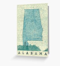 Alabama Map Blue Vintage Greeting Card
