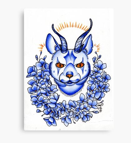 calygreyhound in blue, cat with antlers  Canvas Print