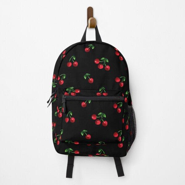 Black Sweet cherry pattern Backpack