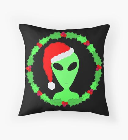 Alien In A Santa Hat Funny Christmas Throw Pillow