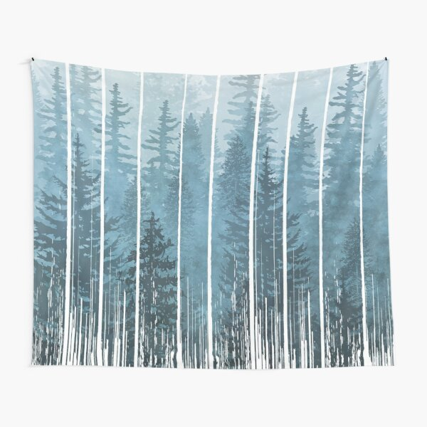 Grunge Dripping Turquoise Misty Forest Tapestry