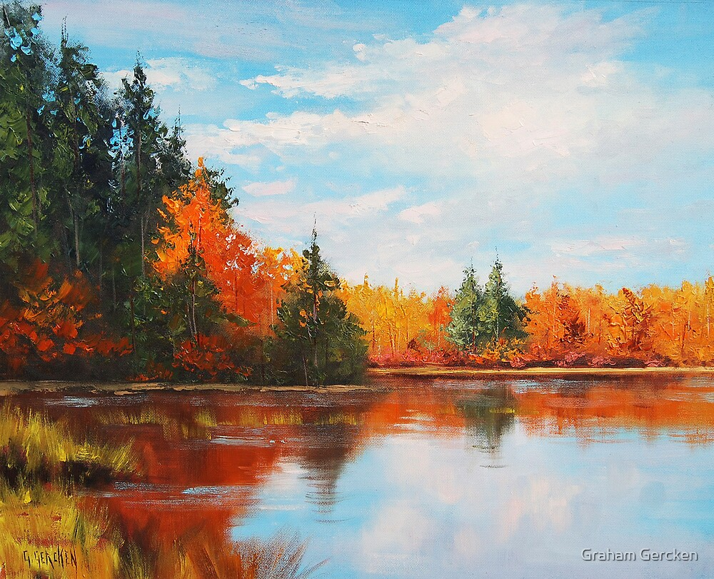 Quot Autumn Lake Quot By Graham Gercken Redbubble