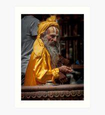 Durbar Square Holy Man Art Print