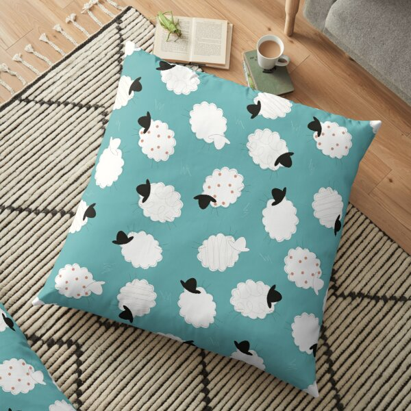 Ditzy teal and coral sheep Floor Pillow