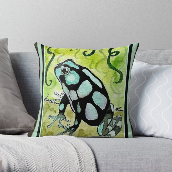 Aqua Poison Dart Frog  Throw Pillow