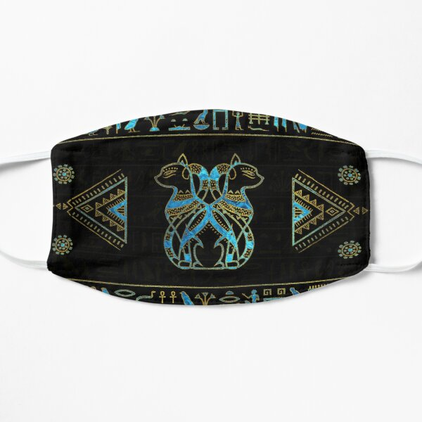 Egyptian Cats Gold and blue stained glass Small Mask