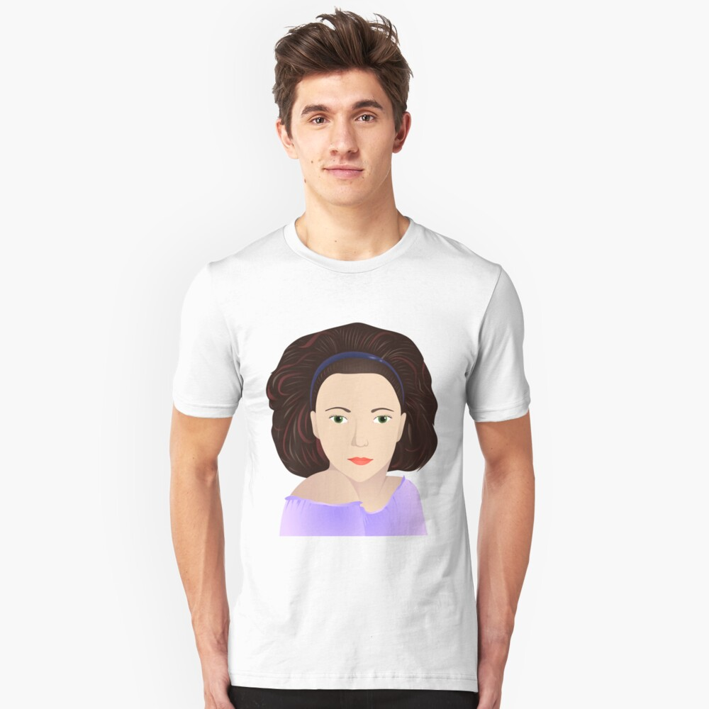 brunette in lilac Unisex T-Shirt Front