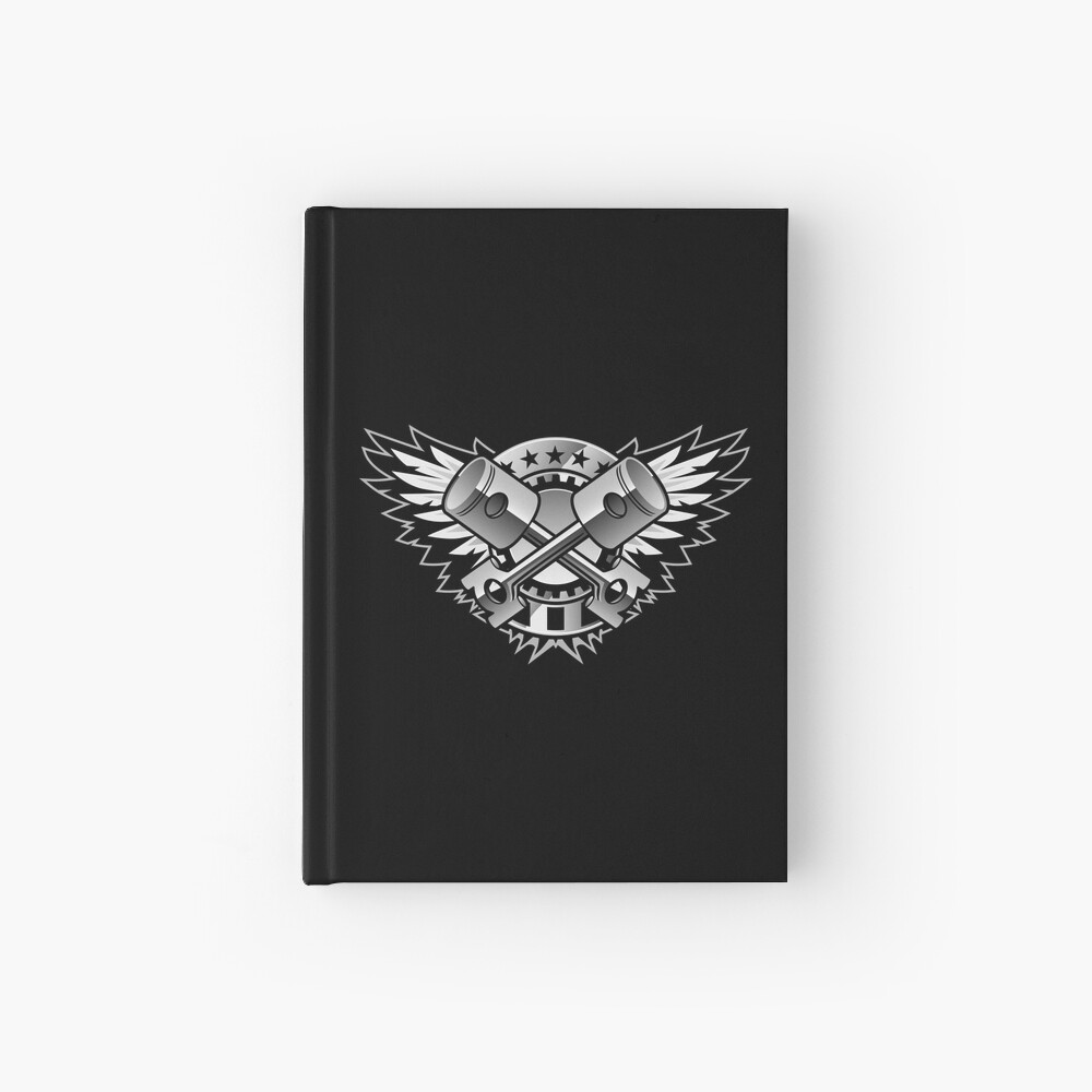 Crossed Pistons and Wings with Stars and Stripes Chrome Logo  Hardcover Journal