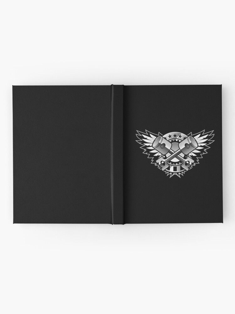 Alternate view of Crossed Pistons and Wings with Stars and Stripes Chrome Logo  Hardcover Journal