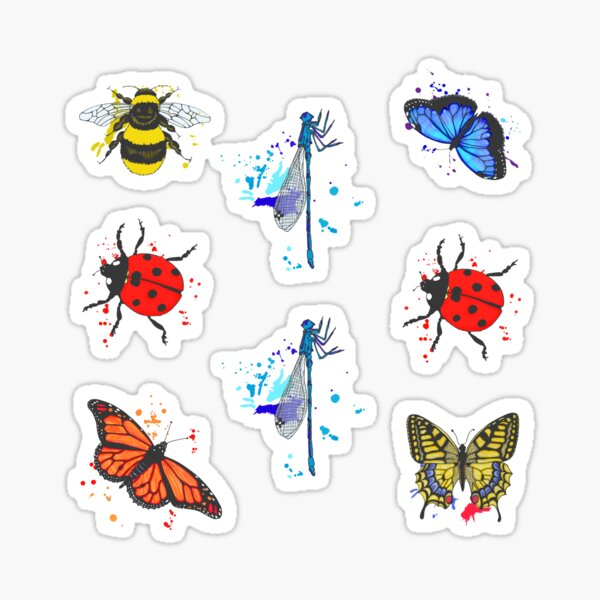 Winged Insects Bees Butterflies Ladybirds Dragonflies Sticker