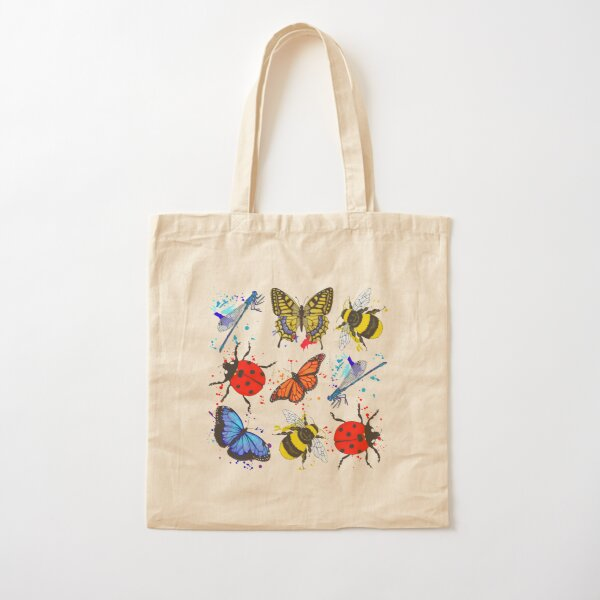 Winged Insects Bees Butterflies Ladybirds Dragonflies Cotton Tote Bag