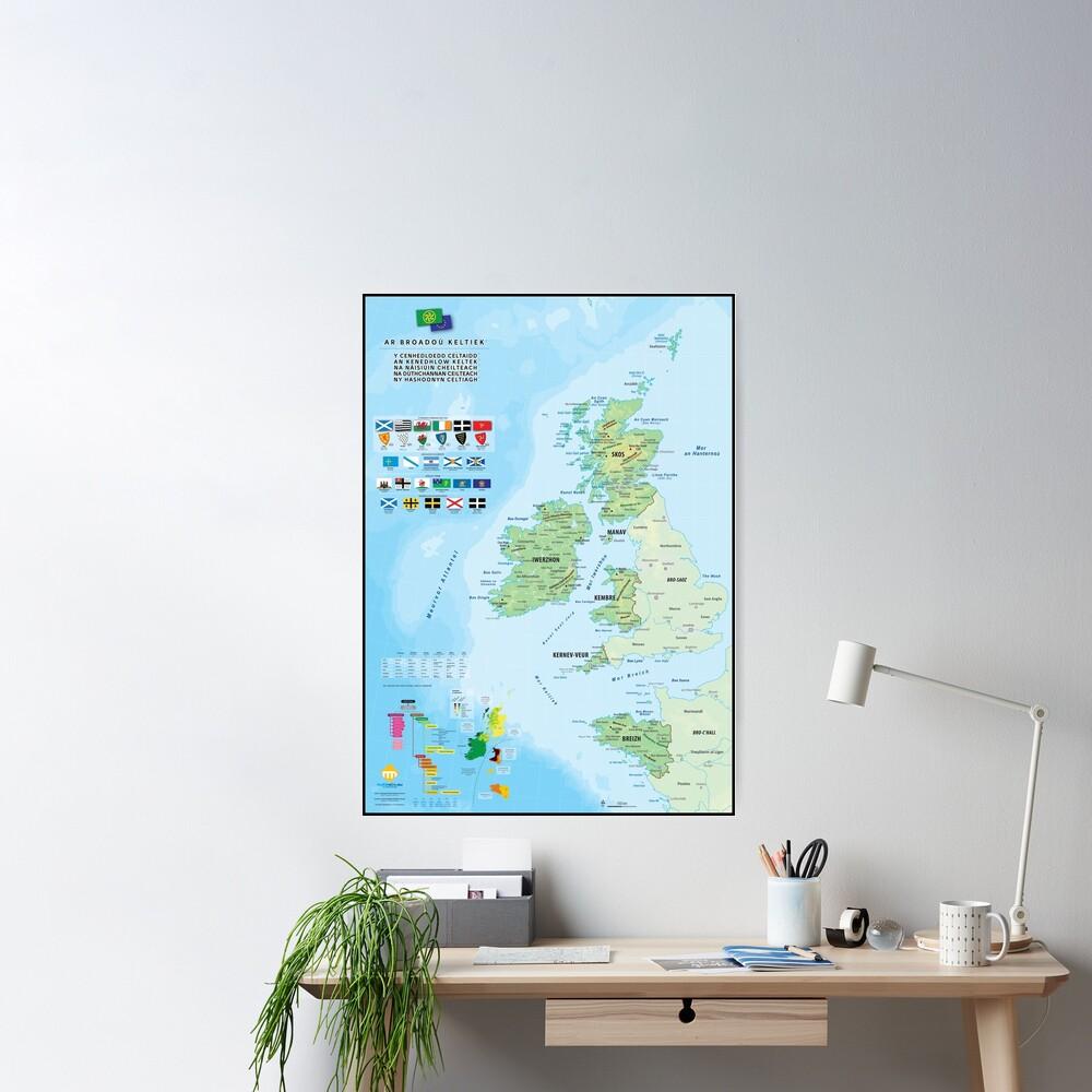 Poster «Les six nations celtiques : cartes, drapeaux et langues (version en breton)»