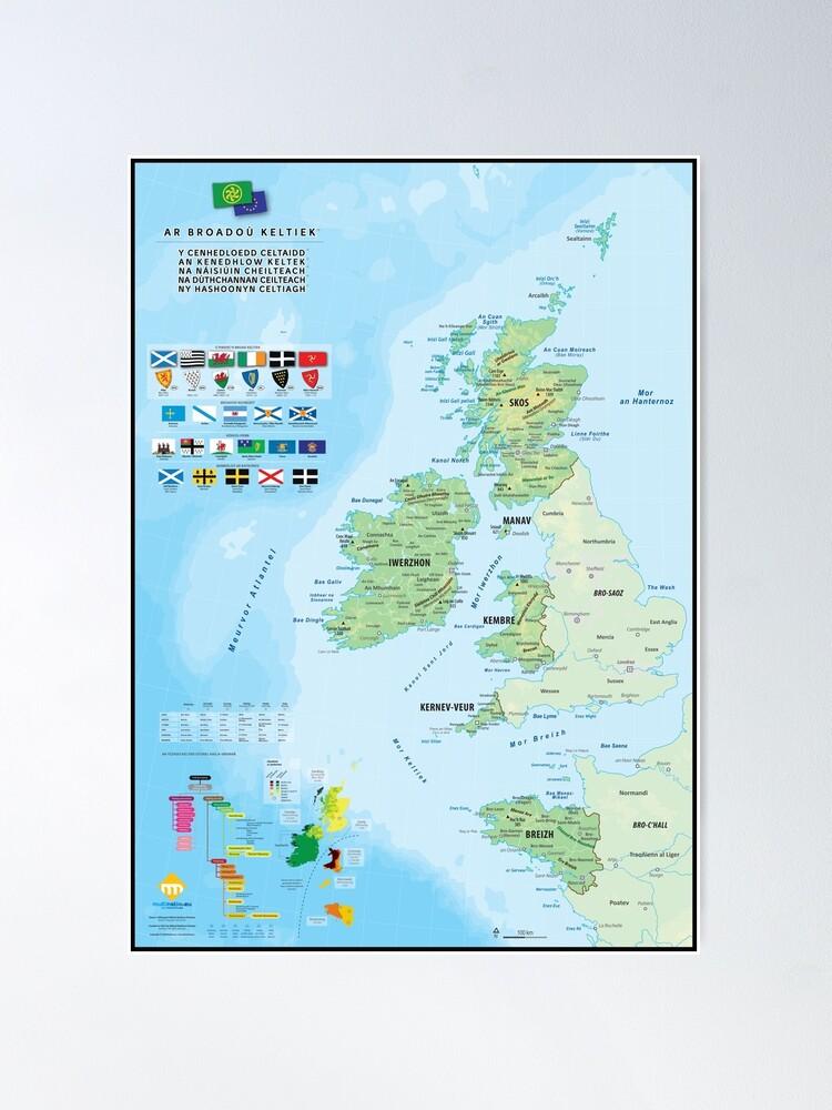 Poster ''Les six nations celtiques : cartes, drapeaux et langues (version en breton)': autre vue