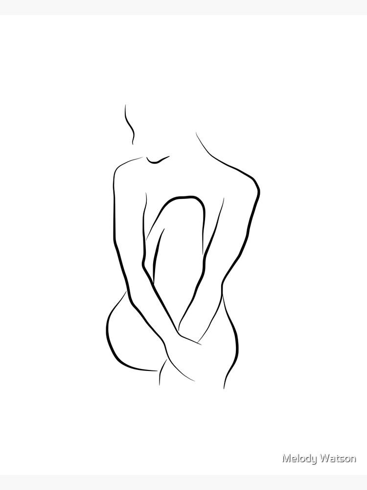 Nude Line Art Sketch - Beautiful Bella by Odyanne