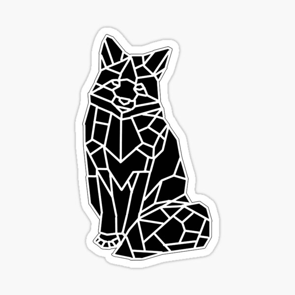 Sitting Fox Mosaic (All Black) Sticker