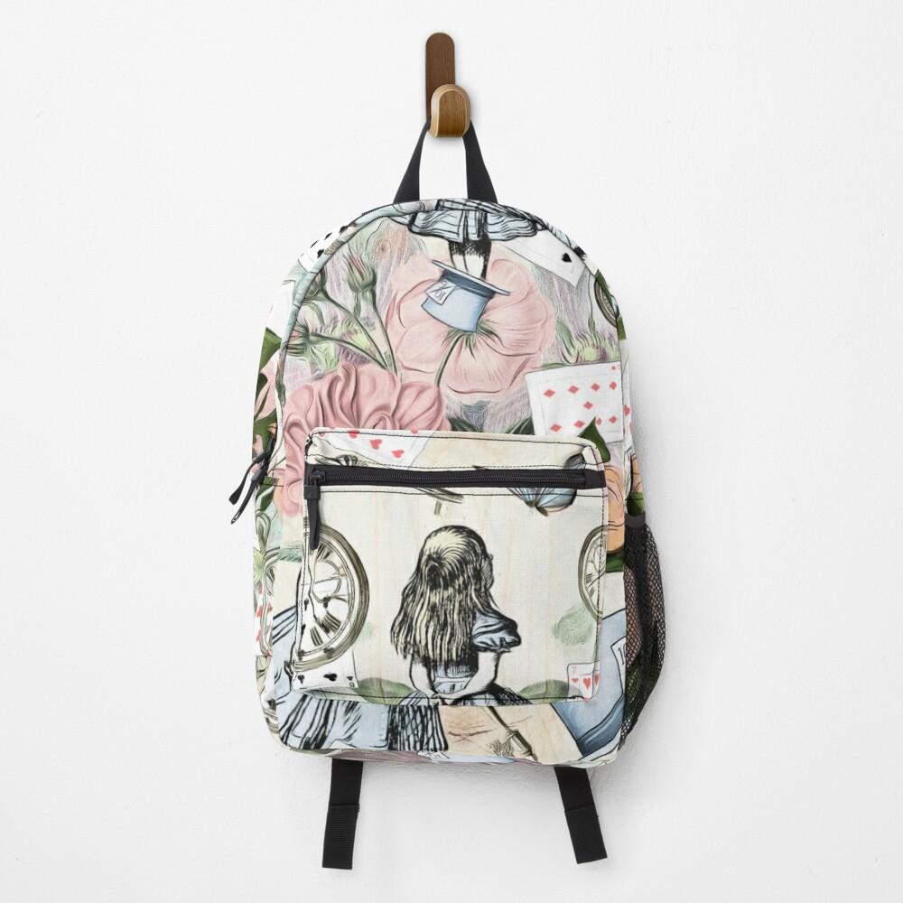 Alice In Wonderland  Collage Backpack