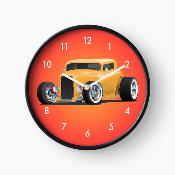 Classic American Yellow 32 Hotrod Car Illustration Clock