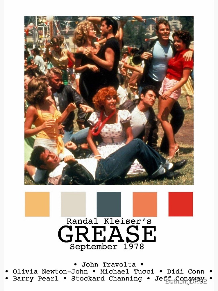 Grease Movie Poster Greeting Card By Bethanydr02 Redbubble