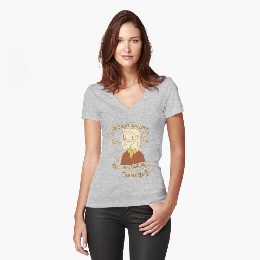Kranke Schläge Tailliertes T-Shirt mit V-Ausschnitt