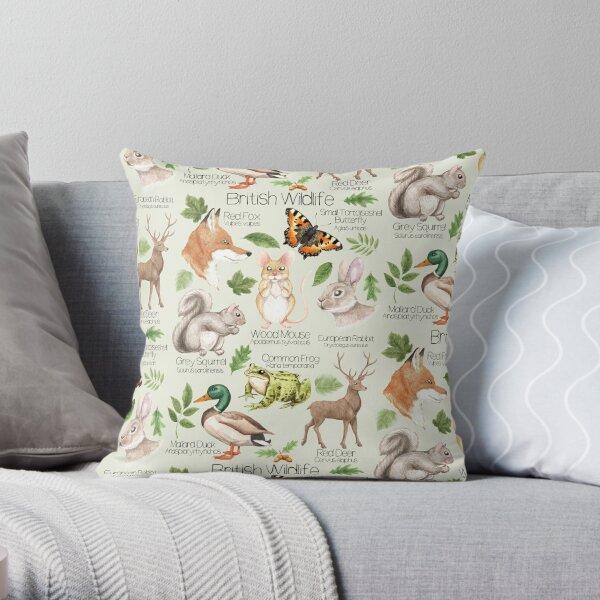 British Wildlife Throw Pillow