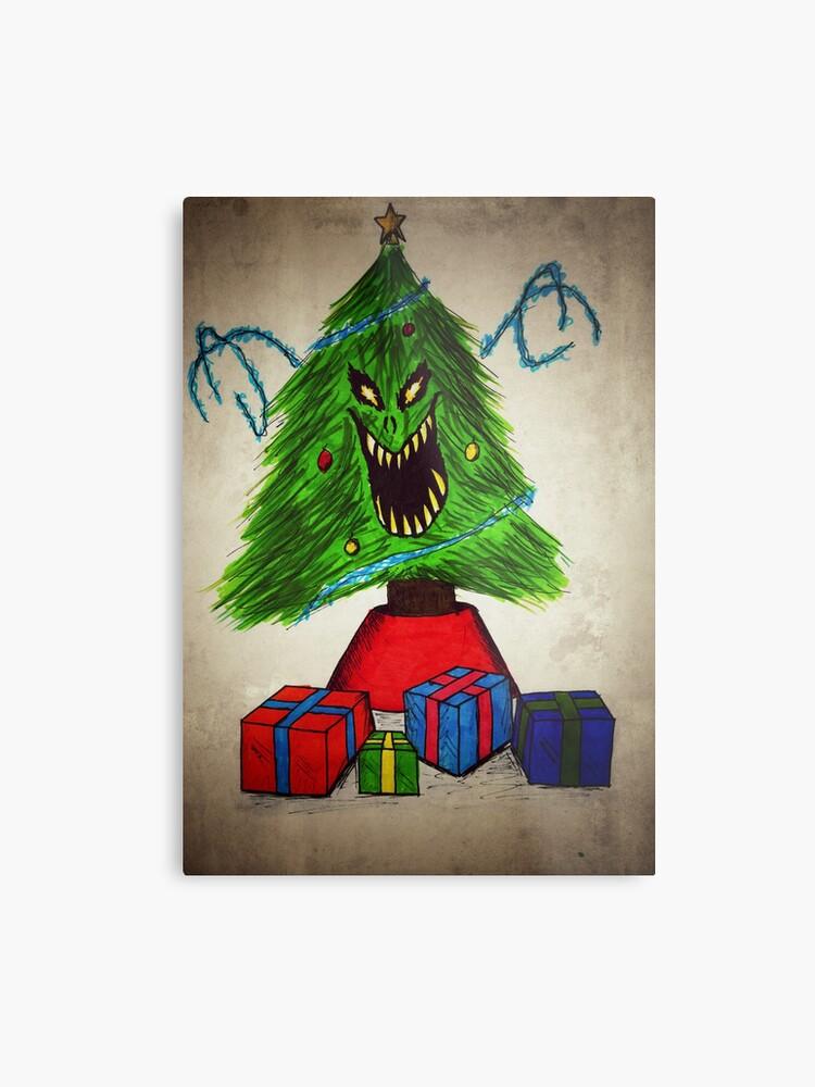 Evil Christmas.Evil Christmas Tree Metal Print