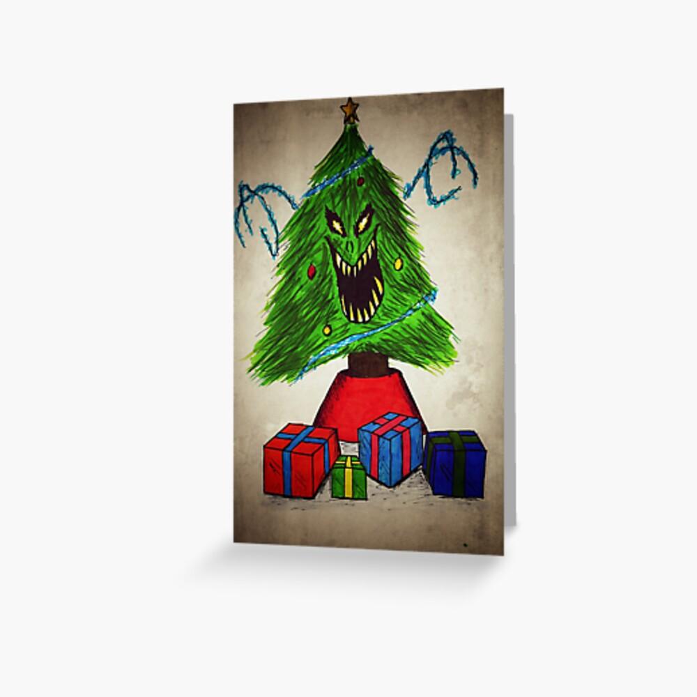 """evil christmas tree"" greeting cardgiarctterrab"