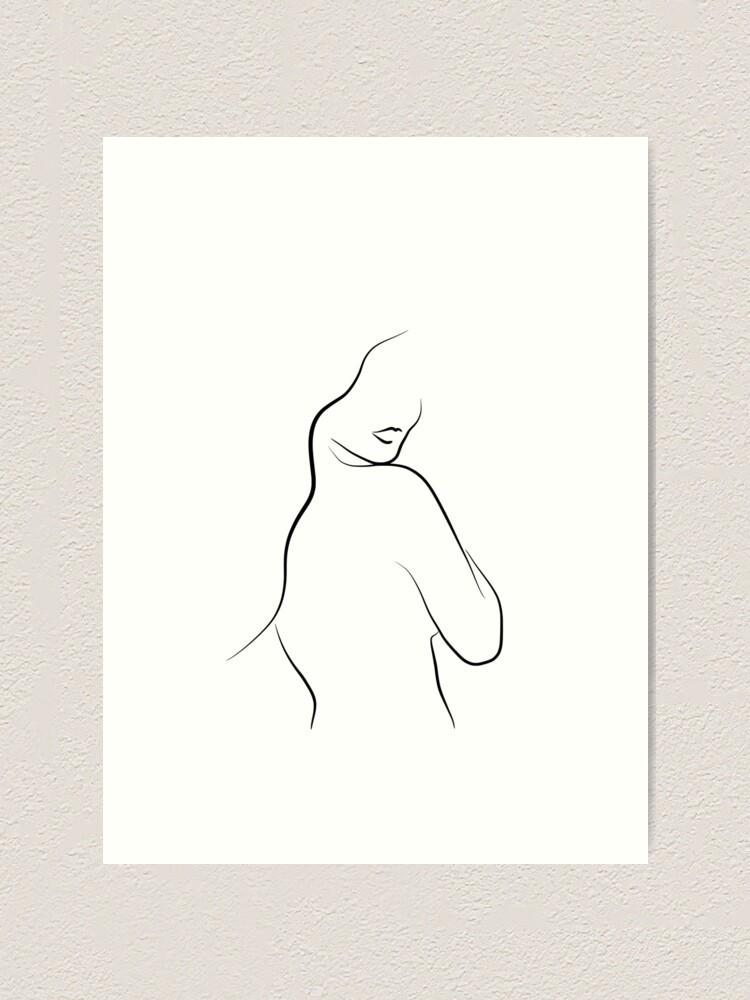 Simple Woman Line Art Sketch Leias Lips Art Print By Odyanne Redbubble
