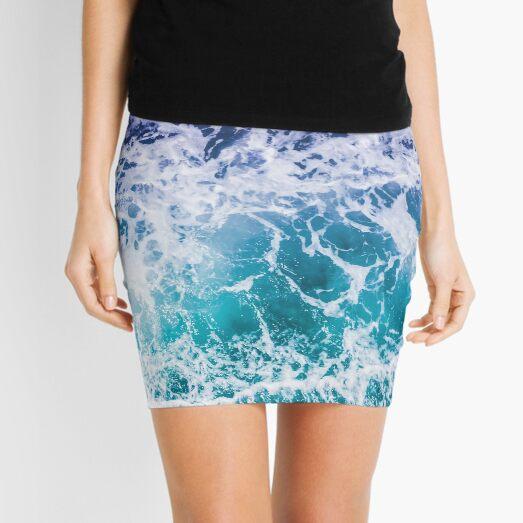 Blue Ocean Waves Mini Skirt