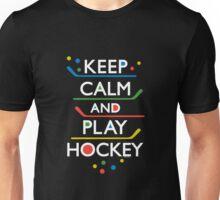 Keep Calm and Play Hockey - on dark   Unisex T-Shirt