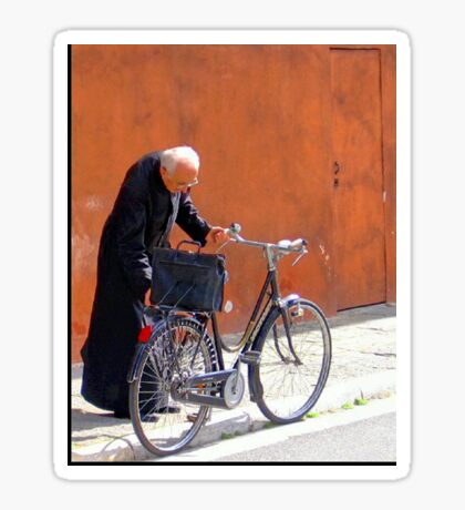 A Priest And His Bicycle. Sticker