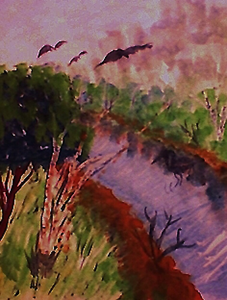 Down by the stream, watercolor by Anna  Lewis, blind artist