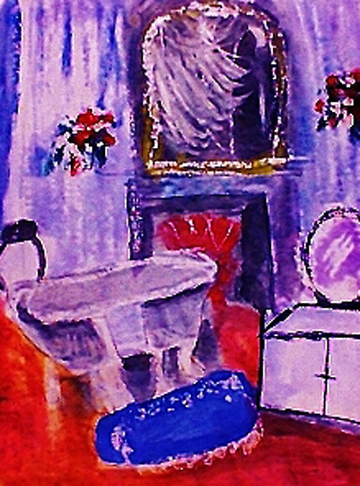 French bathroom, watercolor by Anna  Lewis, blind artist
