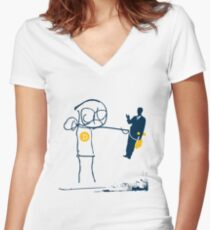 KILL 'em WITH KINDNESS T mascot Women's Fitted V-Neck T-Shirt