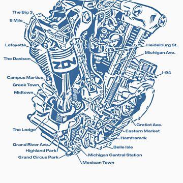 Detroit POWER! (blue ink) by brichar9