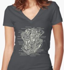 Detroit POWER! (tan ink) Women's Fitted V-Neck T-Shirt