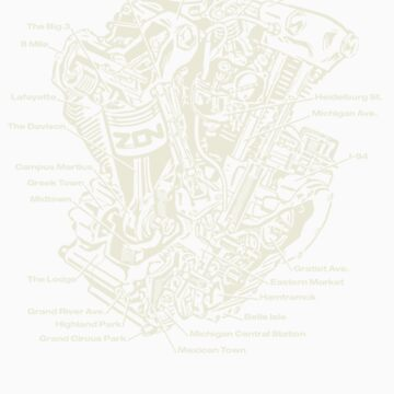 Detroit POWER! (tan ink) by brichar9