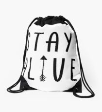 Stay Alive - Hunger Games (Black) Drawstring Bag
