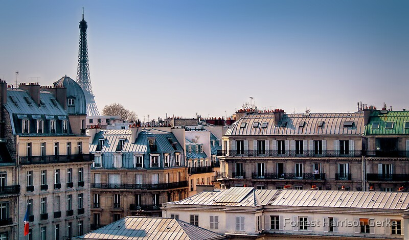 paris rooftops posters by forrest harrison gerke redbubble. Black Bedroom Furniture Sets. Home Design Ideas