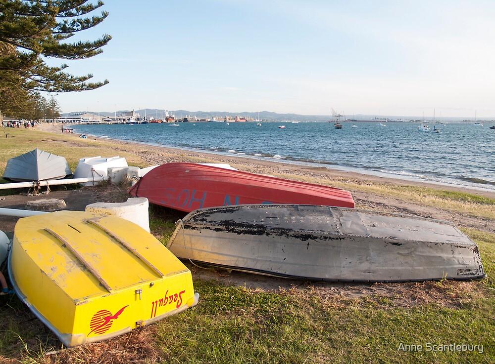 dinghies beached by Anne Scantlebury