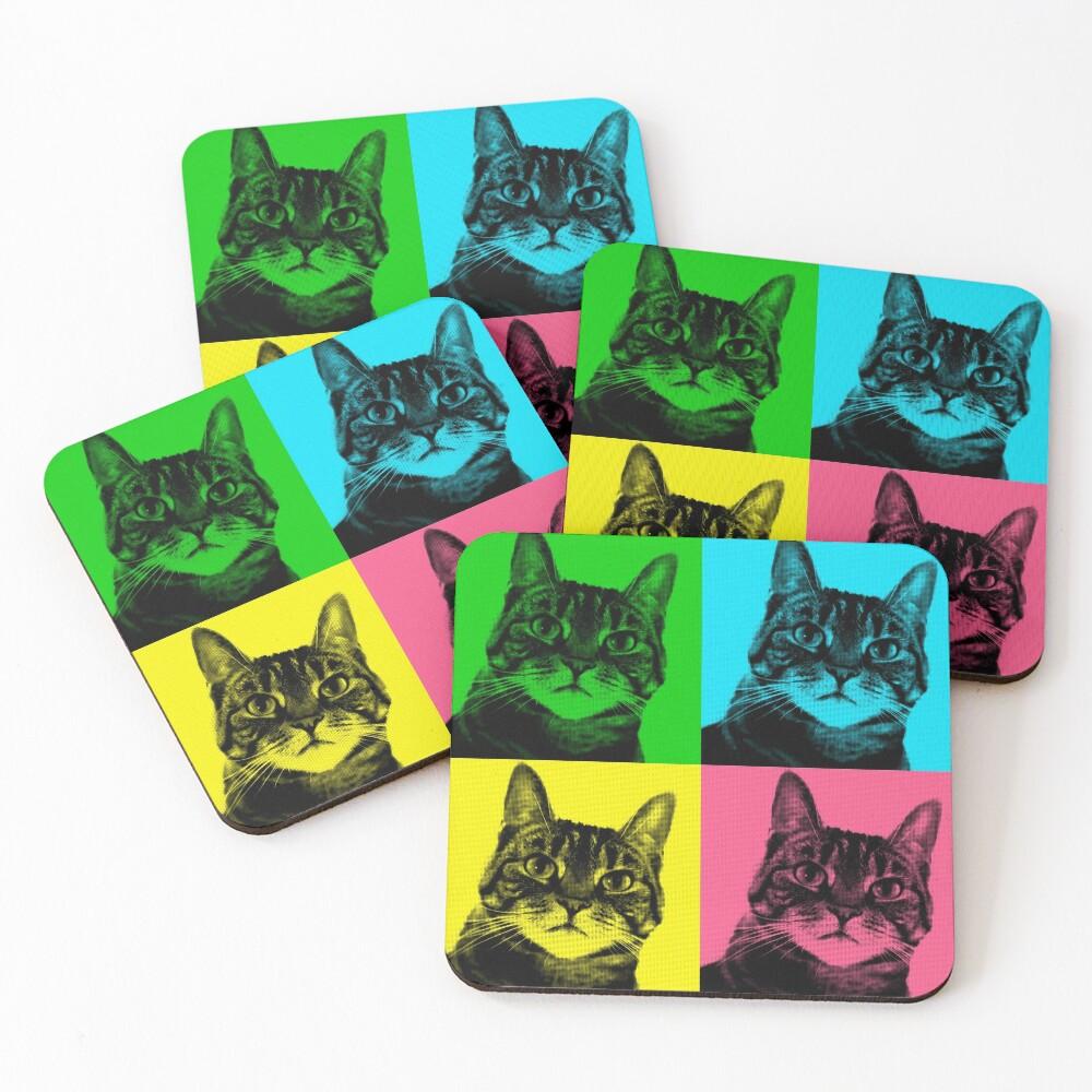 Tabby Pop Art Cat Art Pet Art Coasters (Set of 4)
